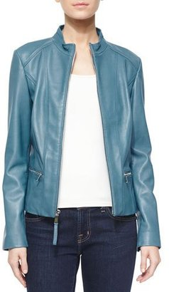 Neiman Marcus Washed Lambskin Leather Jacket $325 thestylecure.com