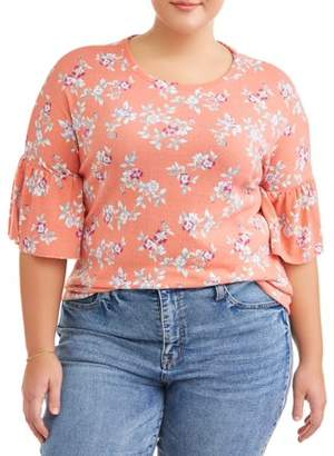 No Comment Junior Plus Size Ruffle Bell Sleeve Top