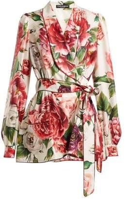Dolce & Gabbana Peony Print Silk Twill Belted Pyjama Jacket - Womens - White Multi