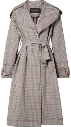 Cédric Charlier Oversized Paneled Plaid Cotton-blend Gabardine Trench Coat