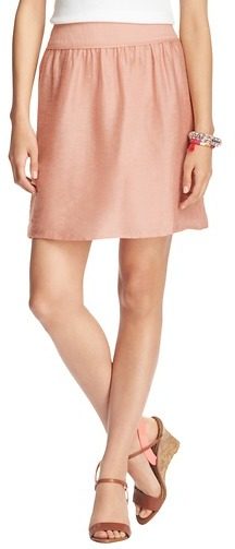 LOFT Petite Shirred Linen Blend Skirt