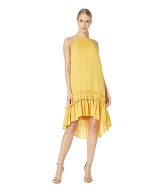 Halston Sleeveless Dress with Pleated Ruffle Hi-Lo Hem