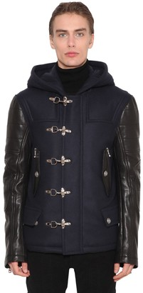 Balmain Virgin Wool Blend & Leather Biker Coat