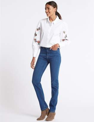 Marks and Spencer Ozone Mid Rise Straight Leg Jeans