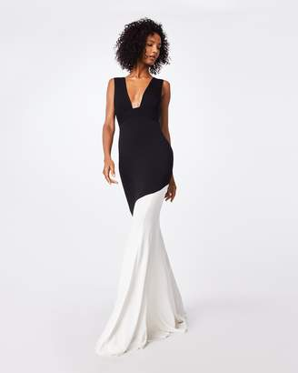 Nicole Miller Color Block Plunge Gown