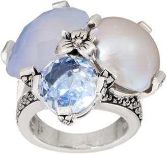 Stephen Dweck Sterling Silver Triple Gemstone Ring