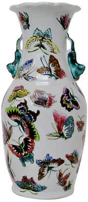 One Kings Lane Vintage Porcelain Butterfly Vase