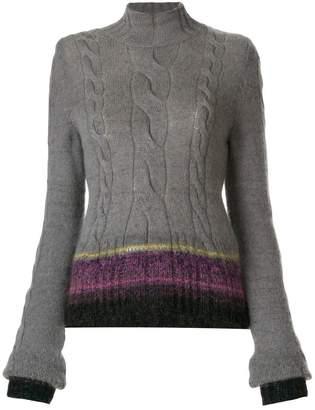 A.F.Vandevorst striped hem cable knit jumper