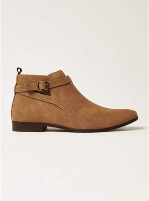 Topman Mens Brown Tan Faux Suede Fisco Buckle Boots