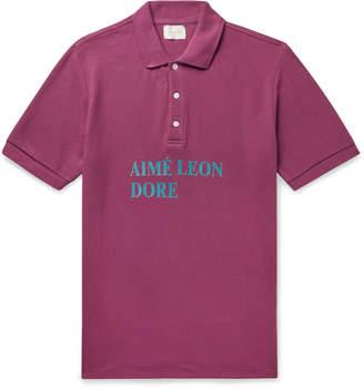 Leon Aimé Dore Aime Dore - Logo-Print Cotton-Pique Polo Shirt - Men - Purple