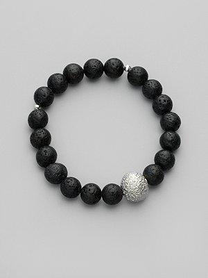 Mizuki Black Lava & Sterling Silver Bead Bracelet