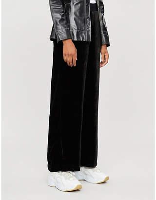 Good American Elasticated-waist wide-leg high-rise velvet trousers