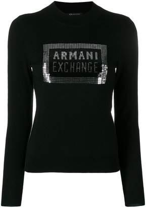 Armani Exchange sequin logo jumper