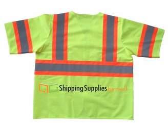 Shield Safety Class 3 Safety Vest, Fluorescent Yellow w/Orange Stripe, Polyester, 5XLarge