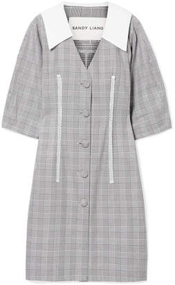 Sandy Liang - Leo Lace-trimmed Plaid Cotton And Crepe De Chine Dress - Gray