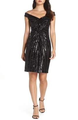 Vince Camuto Sequin Embellished Off the Shoulder Dress