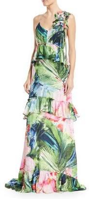 Josie Natori Sleeveless Tiered Peplum Maxi Dress