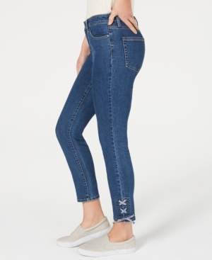 Charter Club Gingham Lace-Up Skinny Jeans, Created for Macy's