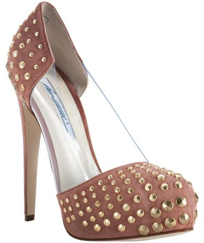 Brian Atwood pink suede 'Loca' studded pvc detail pumps