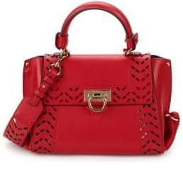 Salvatore Ferragamo Leather Cutout Tote Crossbody Bag