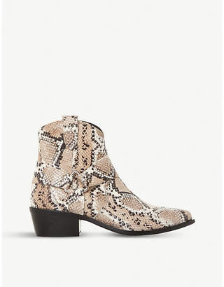 Dune Panchoe snake-embossed leather western boots