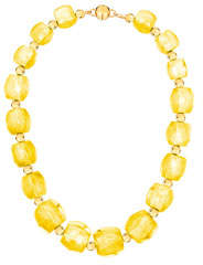 Gold & Honey Triangular-Prism Bead Necklace, Yellow