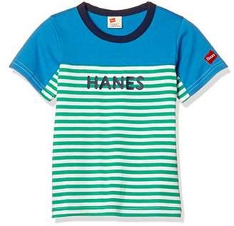 Hanes (へインズ) - [ヘインズ] 子供用 半袖Tシャツ ボーダー切替Tシャツ HE8788 グリーン 日本 120 (日本サイズ120 相当)