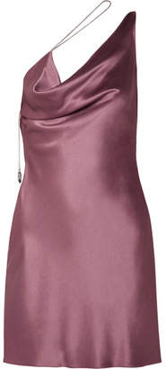 Cushnie et Ochs One-shoulder Draped Silk-charmeuse Mini Dress - Grape