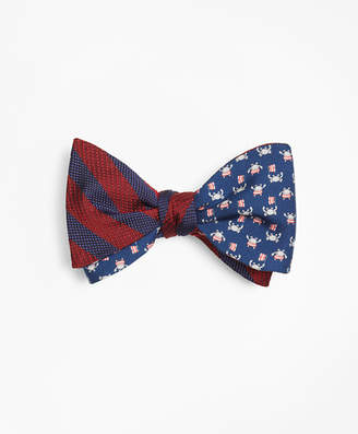 Brooks Brothers Ground Stripe with Crab and Flag Motif Print Reversible Bow Tie