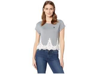 U.S. Polo Assn. Lace Trim Crop Tee Women's T Shirt