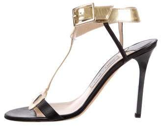 Jimmy Choo Metallic T-Strap Sandals