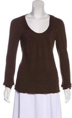 Velvet Scoop Neck Long Sleeve Sweater