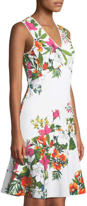 Donna Ricco Floral V-Neck Fit-and-Flare Dress