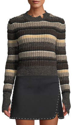 Helmut Lang Distressed Ombre-Stripe Shrunken Wool Sweater