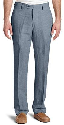 Louis Raphael Men's Modern Fit Linen Blend Flat Front Dress Pant