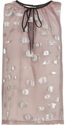 Mother of Pearl Junana Fil Coupé Silk-Blend Chiffon Top