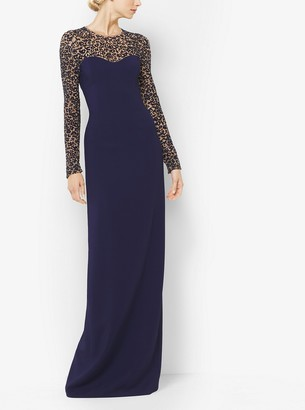 Michael Kors Collection Embroidered Long-Sleeve Gown