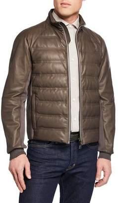Ermenegildo Zegna Men's Light Padded Leather Bomber Jacket