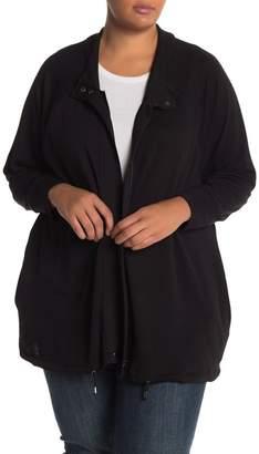Cable & Gauge Zip Knit Jacket (Plus Size)