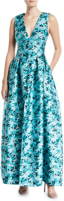 Sachin + Babi Brooke Floral Gown w\/ Pockets