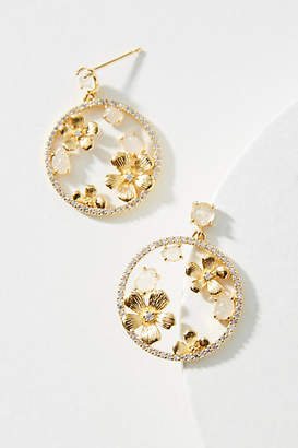 Anthropologie Petal Hoop Drop Earrings