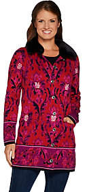 Isaac Mizrahi Live! Damask Sweater Coat w/Faux Fur Collar