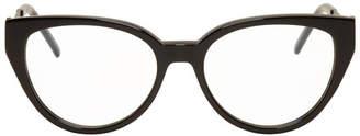 Saint Laurent Black Cat-Eye Crystal Glasses