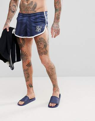 SikSilk Runner Swim Shorts In Navy Stripe