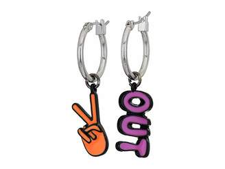 Betsey Johnson Peace Out Non-Matching Drop Earrings