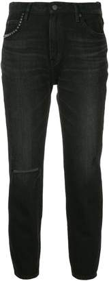 Hysteric Glamour slash knee slim fit jeans