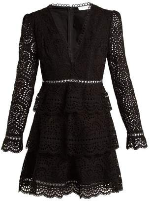 Zimmermann Tali Embroidered Cotton Dress - Womens - Black
