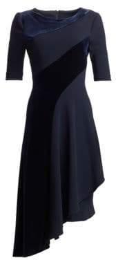 Teri Jon by Rickie Freeman Velvet Stripe Asymmetrical Dress