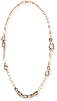 Pomellato Tango 18k Rose Gold Brown Diamond Link Necklace