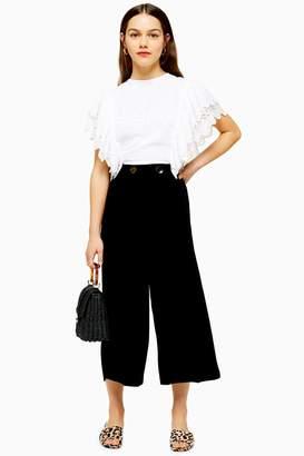 Topshop Womens Petite Double Button Crop Wide Trousers - Black